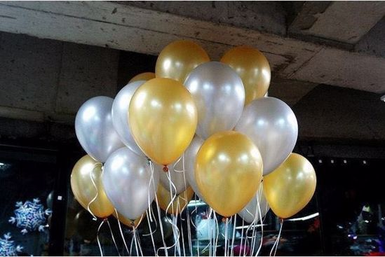 Picture of Wedding Gold Latex Balloons Ceiling Balloons 11""