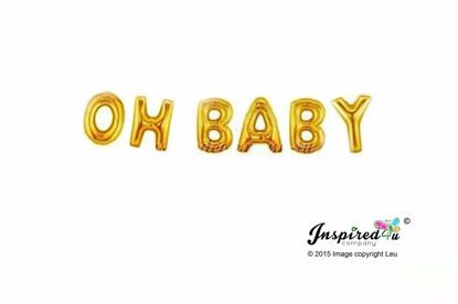 Picture of OH BABY Letters 16 Inch 40 cm Foil Balloons Birthday
