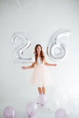 Picture of Birthday Silver Foil Balloon Giant Numbers 40""