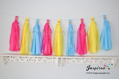 Picture of Tissue Paper Tassel Wedding Hot Pink Yellow Blue