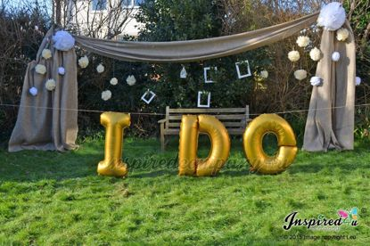 "Picture of I DO Letters up to 40"" / 100 cm Mylar Gold Foil Balloons Wedding"