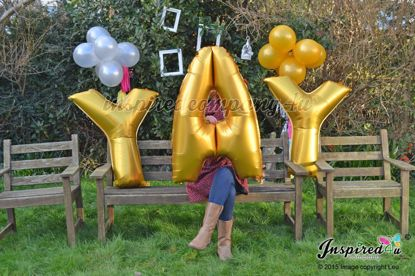 "Picture of YAY Letters up to 40"" / 100 cm Mylar Gold Foil Balloons Birthday"