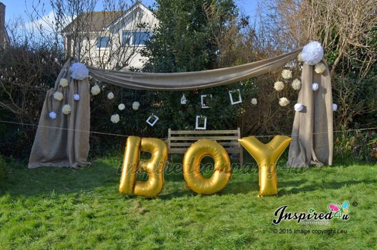 """Picture of BOY Letters up to 40"""" / 100 cm Mylar Gold Foil Balloons Birthday Baby Shower"""