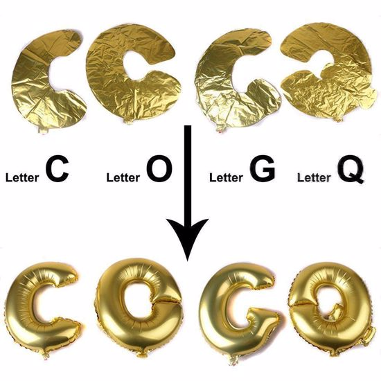 """Picture of POP Letters up to 40"""" / 100 cm Mylar Gold Foil Balloons Birthday Baby Shower"""
