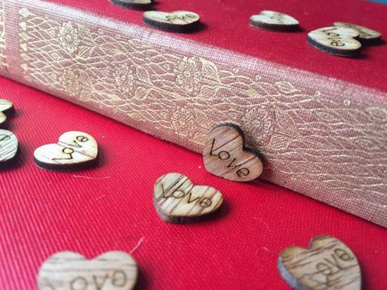 Picture of Love Wooden Heart Table Confetti