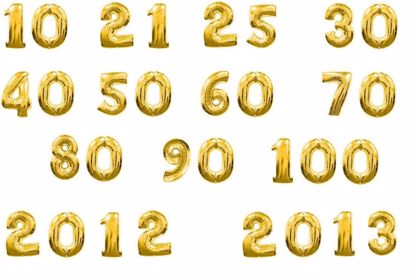 "Picture of 16"" Gold Foil Balloon Numbers Birthdaye Age Wedding Bespoke Mylar2 x"