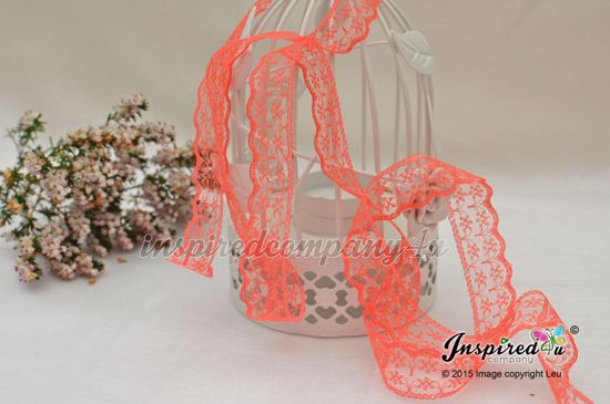 Picture of 2 meters Deep Coral 20 mm Lace Wedding DIY Sew