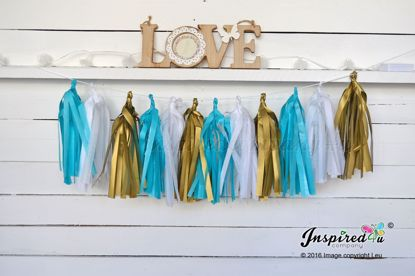 Picture of Tissue Paper Garland Gold Turquoise Gatsby