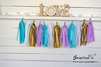 Picture of Tissue Paper Garland Gold Turquoise Lilac Gatsby
