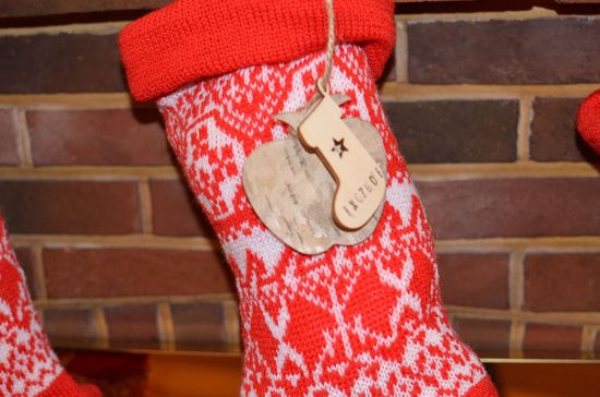 Picture of Christmas Stocking Personalized Knitted Tag  Wooden Reindeer