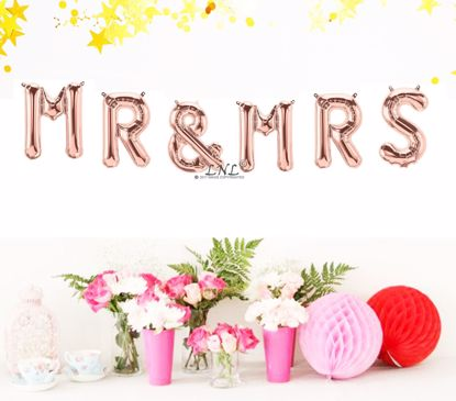 Picture of Rose Gold Balloons Wedding MR MRS Party Decoration Air Name Letters