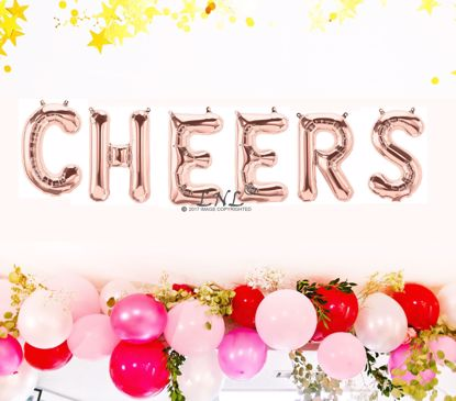 Picture of Rose Gold Balloons Wedding CHEERS Party Decoration Air Name Letters