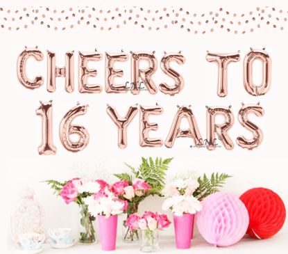 Picture of Cheers To 16 Years Rose Gold Balloons Letters 16""