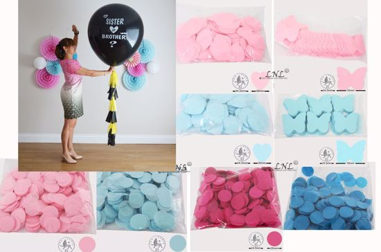 Picture of Sister or Brother Gender Reveal Balloons Boy or Girl Baby Shower Confetti