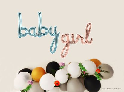 Picture of Baby Girl Blue Script balloon 34 in Gender Reveal Baby Shower