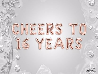 Picture of CHEERS TO 16  YEARS Letter Rose Gold Silver Birthday Balloons