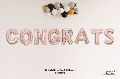 Picture of CONGRATS Rose Gold Letters 34 Inch Foil Balloons