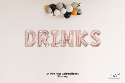 Picture of DRINKS Rose Gold Letters 34 Inch Foil Balloons