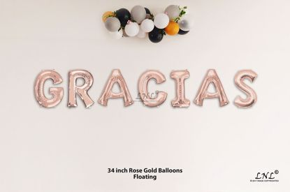 Picture of GRACIAS Rose Gold Letters 34 Inch Foil Balloons