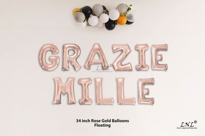 Picture of GRAZIE MILLE Rose Gold Letters 34 Inch Foil Balloons