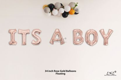 Picture of ITS A BOY Rose Gold Letters 34 Inch Foil Balloons