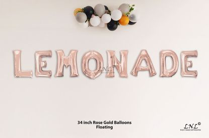 Picture of LEMONADE Rose Gold Letters 34 Inch Foil Balloons