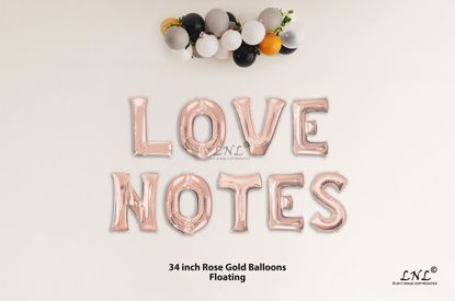 Picture of LOVE NOTES Rose Gold Letters 34 Inch Foil Balloons
