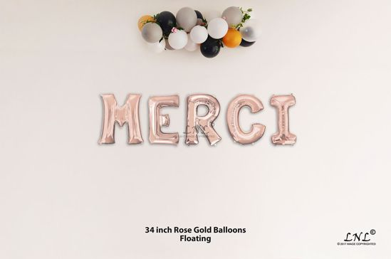 Picture of MERCI Rose Gold Letters 34 Inch Foil Balloons