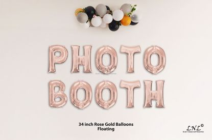 Picture of PHOTO BOOTH Rose Gold Letters 34 Inch Foil Balloons