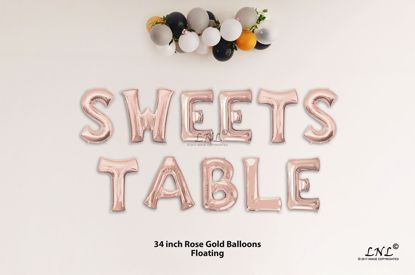 Picture of SWEETS TABLE Rose Gold Letters 34 Inch Foil Balloons