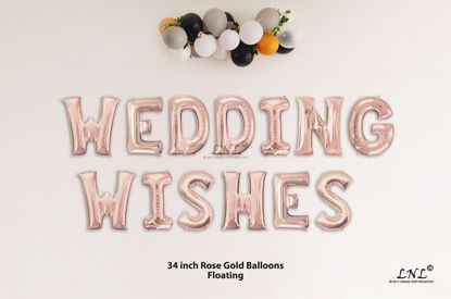 Picture of WEDDING WISHES Rose Gold Letters 34 Inch Foil Balloons