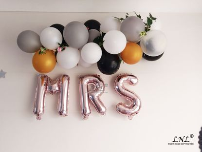 Picture of MRS Rose Gold Silver Letter Balloons