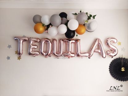 Picture of TEQUILAS Rose Gold Silver Letter Balloons