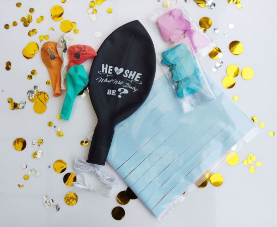 Picture of Gender Reveal Balloons He or She Confetti Blue Pink