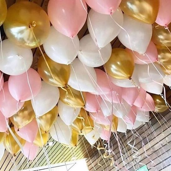 "Picture of Blush Pink  Gold Ceiling Balloons up to 11"" Engaged"