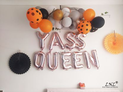 Picture of YASS QUEEN Rose Gold Silver Letter Balloons