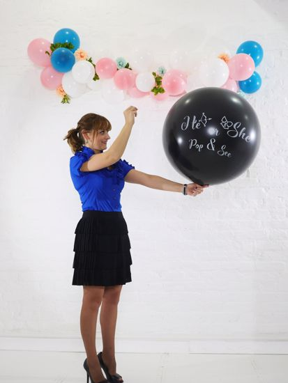 Picture of Gender Reveal Black Balloons He or She  Confetti Blue Pink