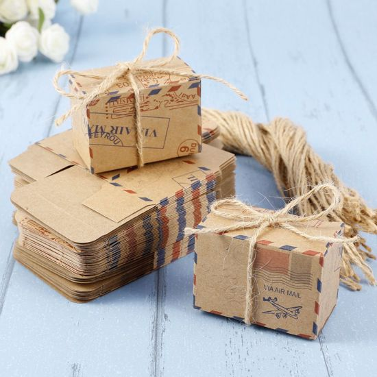 Picture of Wedding Favor Boxes Airmail Vintage Rustic