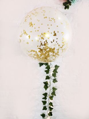 "Picture of Confetti Balloons Gold Metallic 36"" Ivy Tail"