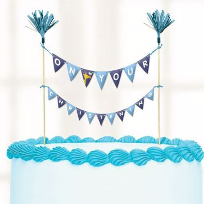 Picture of Cake Topper Christening Blue Flags Bunting