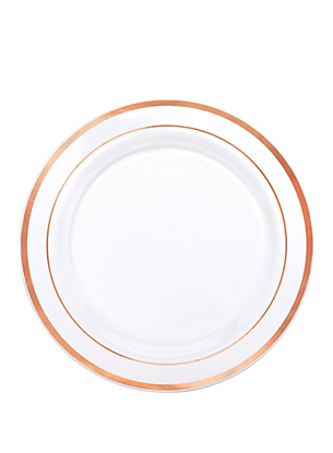 Picture of White Rose Gold Trimmed Premium Plastic Lunch Plates