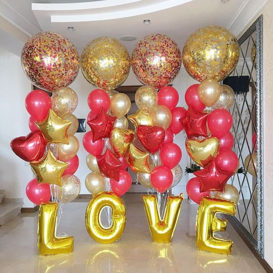 Picture of Confetti Balloons Gold Red Metallic 36""