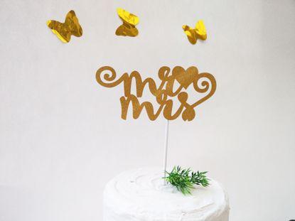 Picture of Mr Mrs Gold Glitter Cake Topper