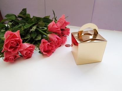 Picture of Gold Wedding Favor Boxes 10 Cream Ribbon
