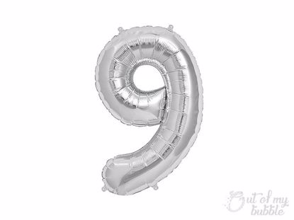 Silver foil balloon number 9