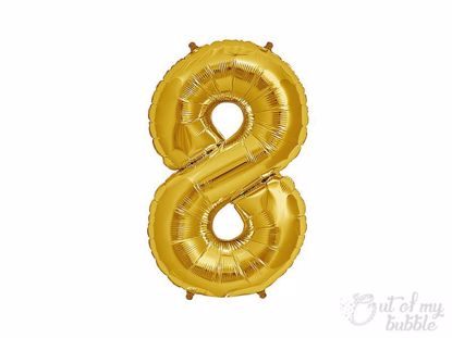 Gold  foil balloon number 8