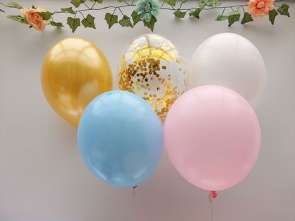 Picture of White Light Blue Balloons Rose Gold Balloons Confetti Ceiling
