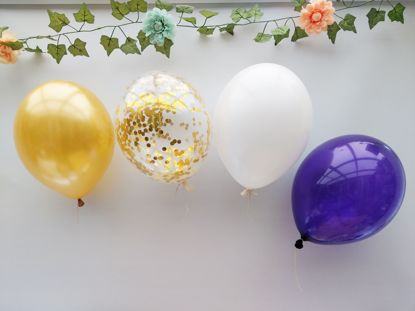 Picture of Gold Balloons White Confetti Ceiling Purple