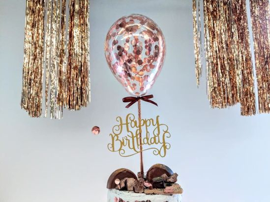 Picture of Rose Gold Balloon Confetti Cake Topper Happy Birthday