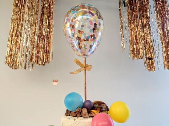 Picture of Rose Gold Balloon Confetti Cake Topper  Princess Theme